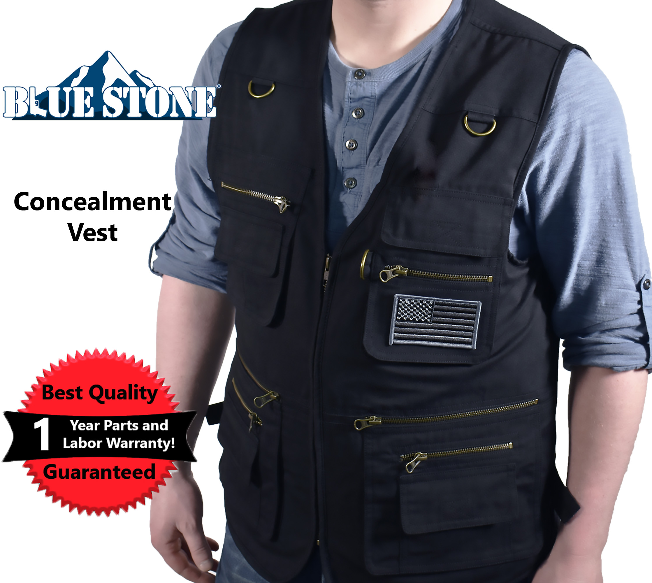Click here to buy Blue Stone Safety Products Large Black Concealment Vest| Fishing Vest| Hunting Vest| Travel Vest| Photography Vest|... by Supplier Generic.