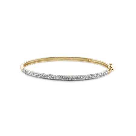 1/4 Carat T.W. White Diamond 14kt Gold over Silver Bangin Bangle, 7