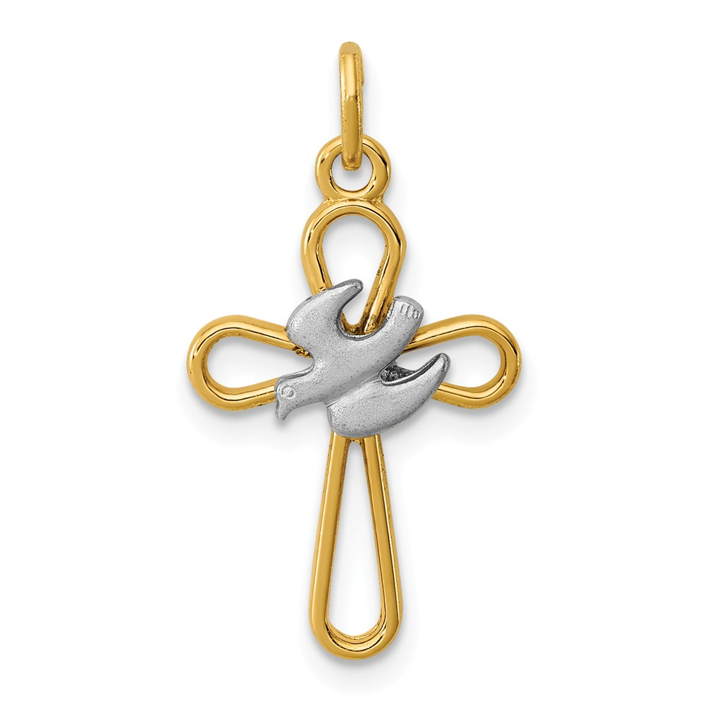 Sterling Silver 18k Gold-Plated Dove Holy Spirit Cross Charm. (0.8in long x 0.5in wide)