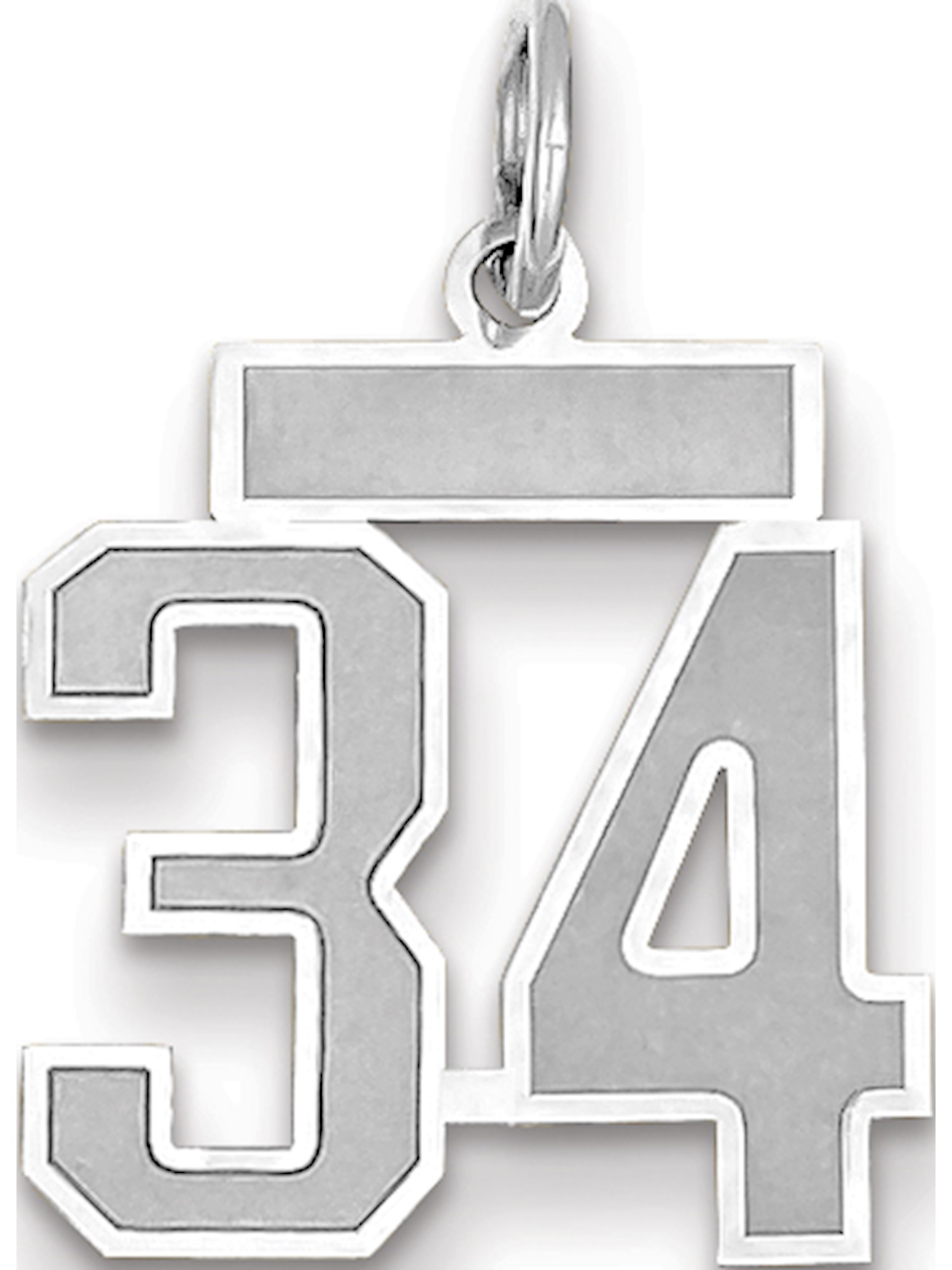 14k White Gold Small Satin Number 6 Charm
