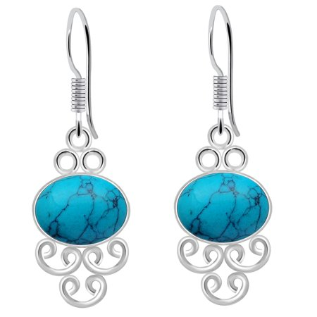 925 Sterling Silver 8 Carat Turquoise Gemstone Earrings