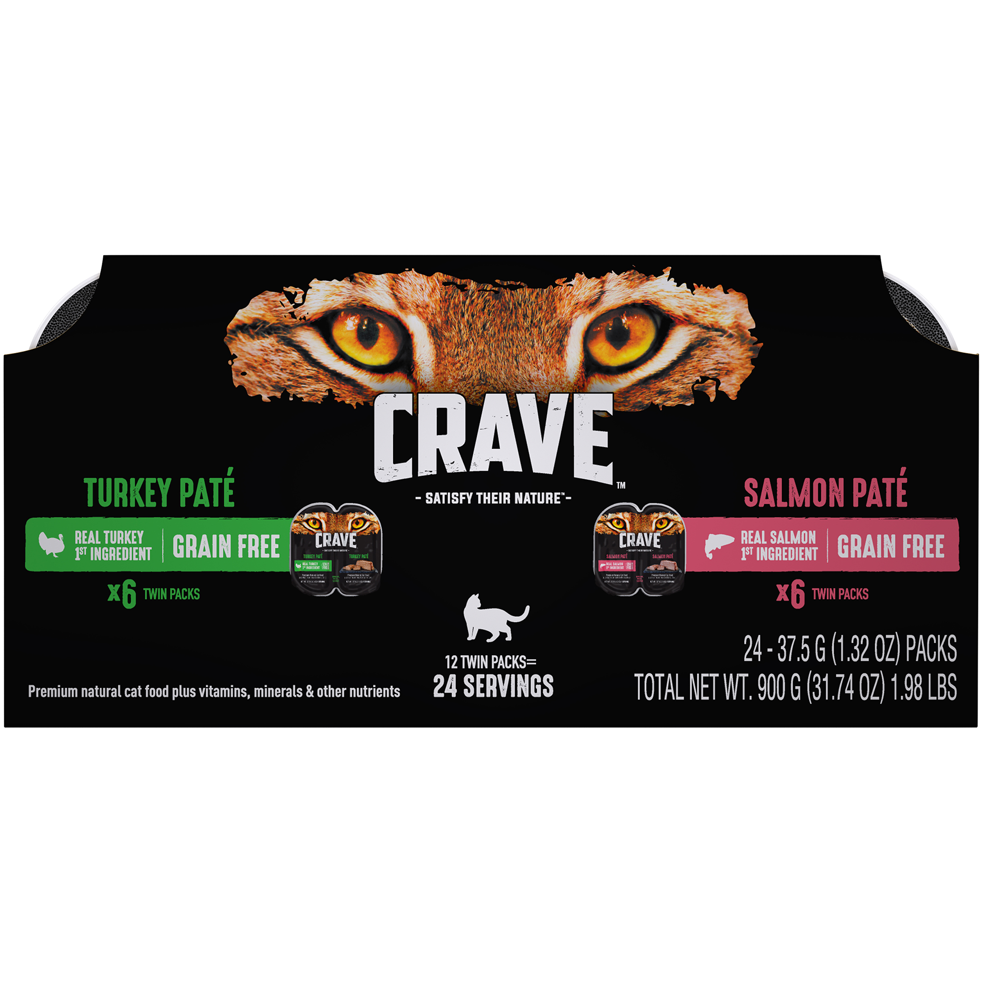 CRAVE Grain Free Adult High Protein Wet Cat Food Pate Turkey & Salmon Variety Pack, (12) 2.6 oz. Twin-Pack Trays