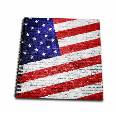 3dRose American Flag Urban Art - patriotic American flag on brick wall - Drawing Book, 8 by 8-inch