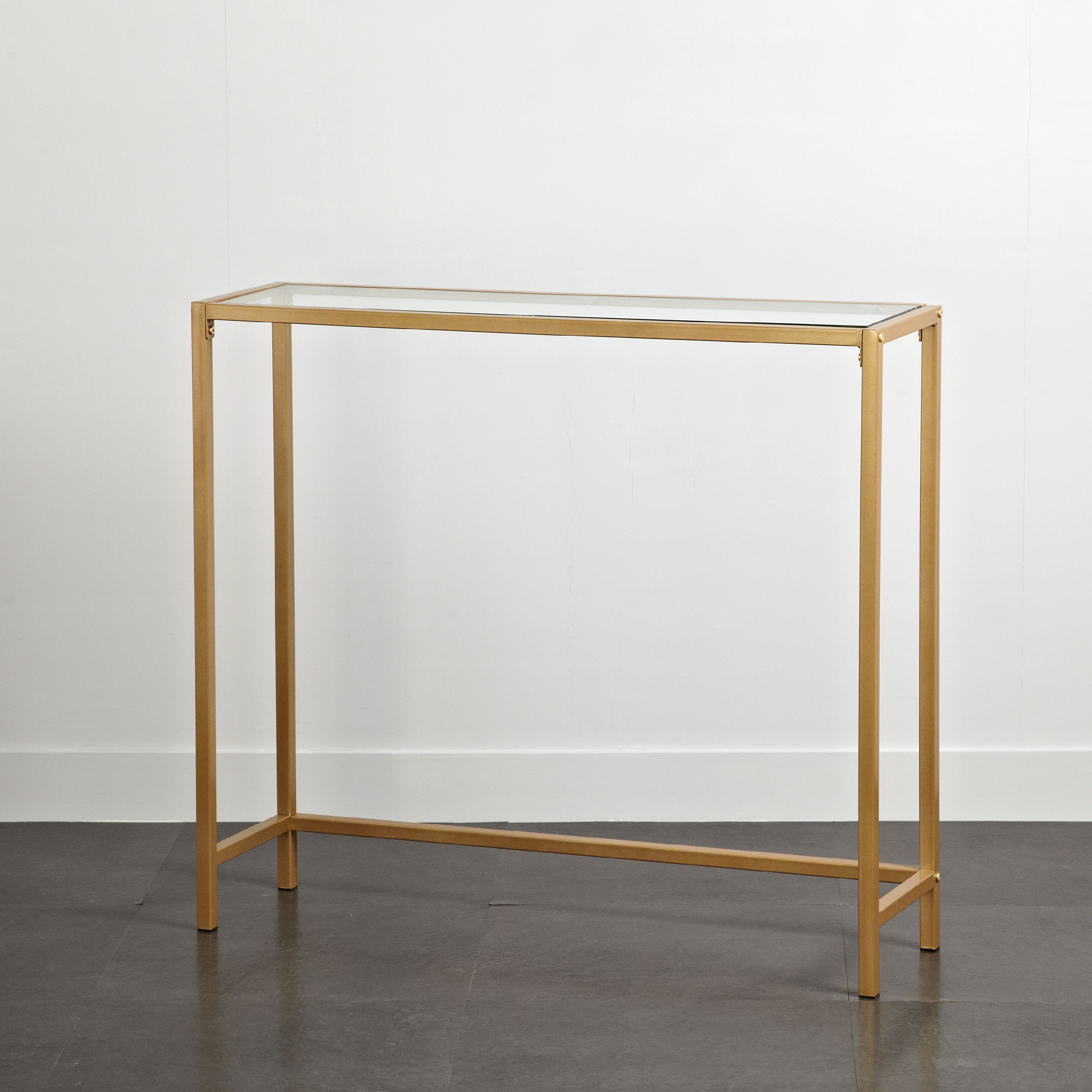 mainstays tempered glass and metal console table collection gold image 3 of 4