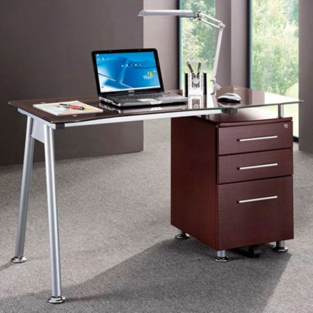 Techni Mobili Stylish Brown Tempered Gl Top Computer Desk With Storage Rta 1565 Chocolate