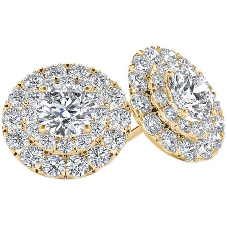 1 Carat T.W. Diamond 10kt Yellow Gold Double-Halo Stud Earrings