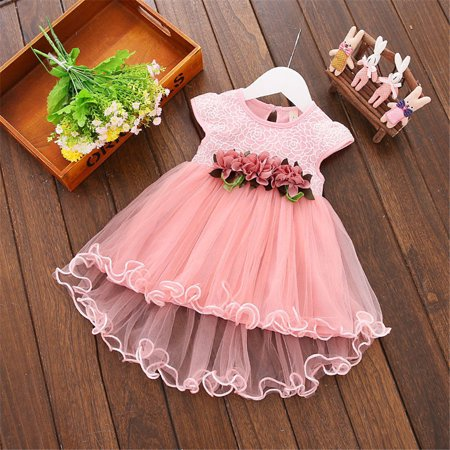 Toddler Infant Kids Baby Girls Summer Floral Tulle Tutu Dress Princess Party Dresses Pink 2-3 Years