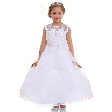 Little Girls White Lace Top Ribbon Flower Girl Dress 2T-6](White Lace Flower Girl Dress)