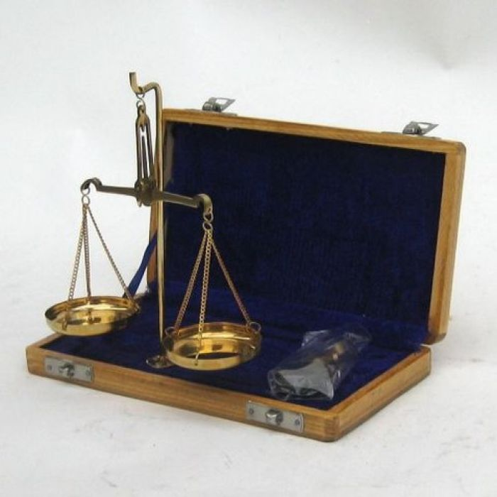 India Overseas Trading BR4093 - Solid Brass Scale Set in Velvet Box (20g)