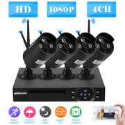 KKmoon 4CH 1080P HD WiFi NVR Kit with 4pcs 1.0MP Wireless WiFi Waterproof Outdoor Bullet IP Camera Support P2P Onvif IR-CUT Night Vision Phone Control Motion Detection for CCTV System