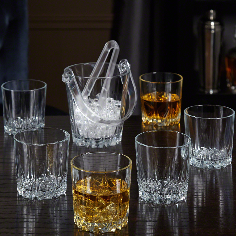 Belmont Cocktail Glasses and Ice Bucket Set, Set of 7 by