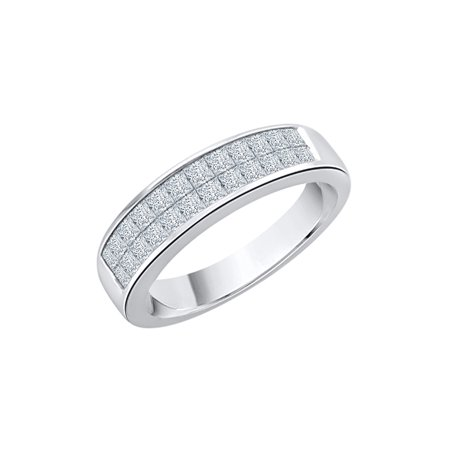 Channel Set Princess Cut Diamond Double Row Wedding Band in Sterling Silver (3/4 cttw, H-I,