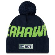 Seattle Seahawks New Era 2019 NFL Sideline Road Official Sport Knit Hat - Navy - OSFA
