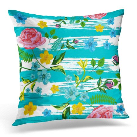 ARHOME Pink Roses Floral Flower with of Red Yellow Blue on Against The Strips Drawn Turquoise Ink for Your Pillow Case Pillow Cover 18x18 inch