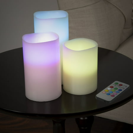 Lavish Home 3-Piece LED Color Changing Flameless Candle Set with Remote](Flameless Ball Candles)