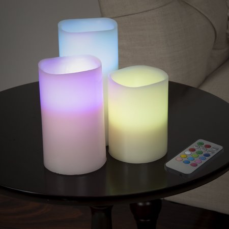 Lavish Home 3-Piece LED Color Changing Flameless Candle Set with Remote - Bulk Flameless Candles