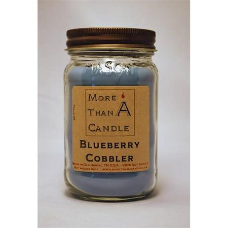 More Than A Candle BBC16M 16 oz Mason Jar Soy Candle, Blueberry Cobbler Cedarwood 16 Oz Jar