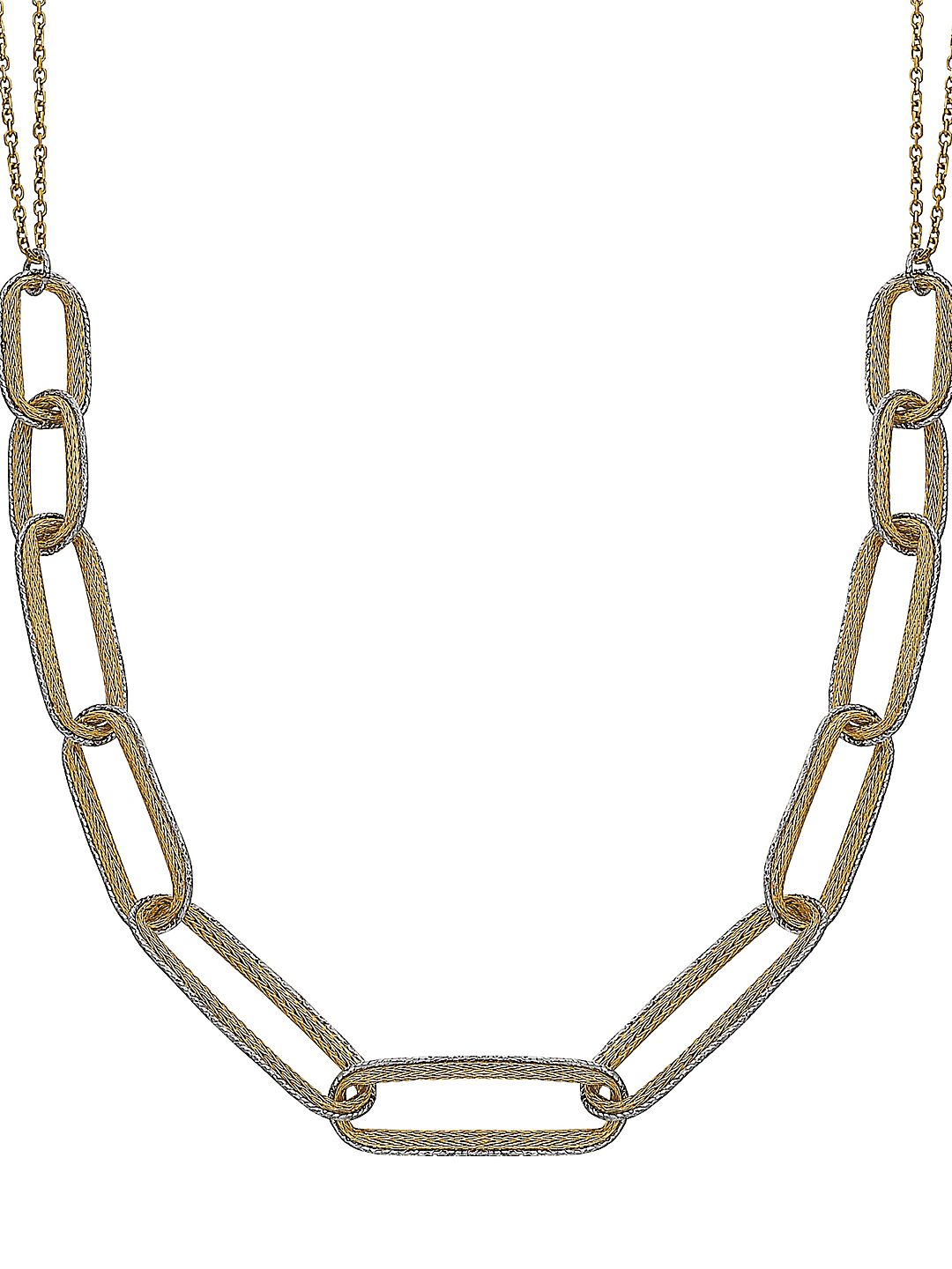 14K Yellow & White Gold Wheat Chain Link Necklace