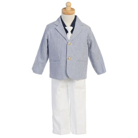 Easter Ring Bearer Blue Seersucker Suit White Pants Boys 2T-7 - Ring Bearer Outfits