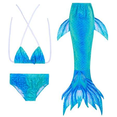 Halloween Costumes For 2 Year Olds Girl (3pcs Girls Mermaid Tail Swimwear Mermaid Swimsuit Bathing Suit Princess Bikini Swimmable Costumes for 3-8 Years)