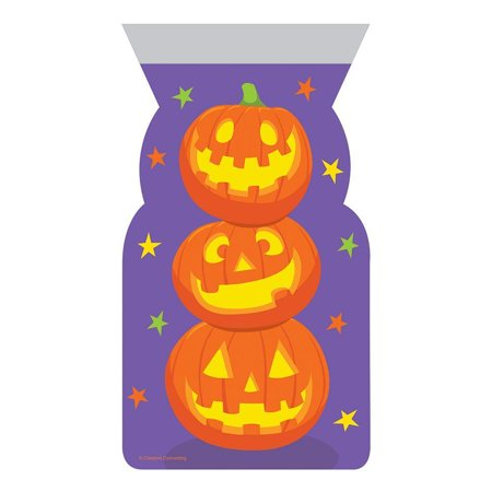 Creative Converting Halloween Cello Bag, Shaped, Stacked Pumpkins, 20 ct - Halloween Crafts Paper Bag Pumpkin