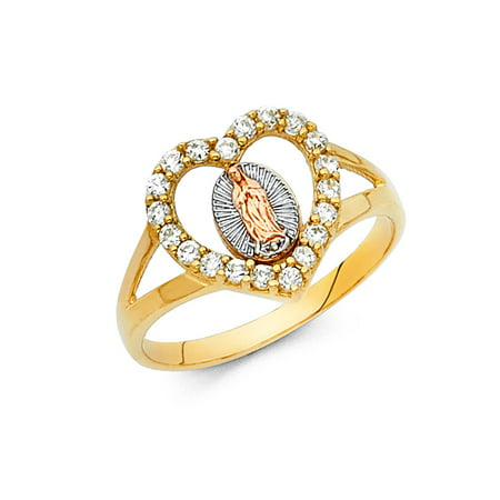 Gemstone Three Stone (Jewels By Lux 14K White Yellow and Rose Three Color Gold Our Lady of Guadalupe Virgin Mary Cubic Zirconia CZ Ring Size)