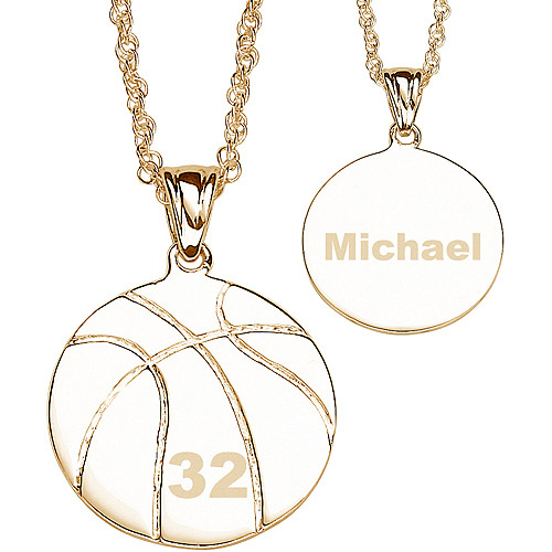 Personalized 14kt Gold-Plated Basketball Necklace