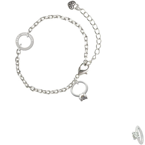 Small Engagement Ring with Crystal - Keep Her Safe Ring Zoe Bracelet