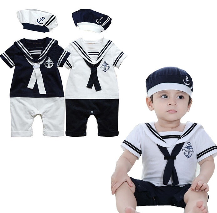 0-24M New Baby Toddler Boy kid Navy sailor outfit suit set size 0 1 2 3 4 5