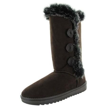 Babe Women 6910 Triple Button Shearling Winter Boot Shoe