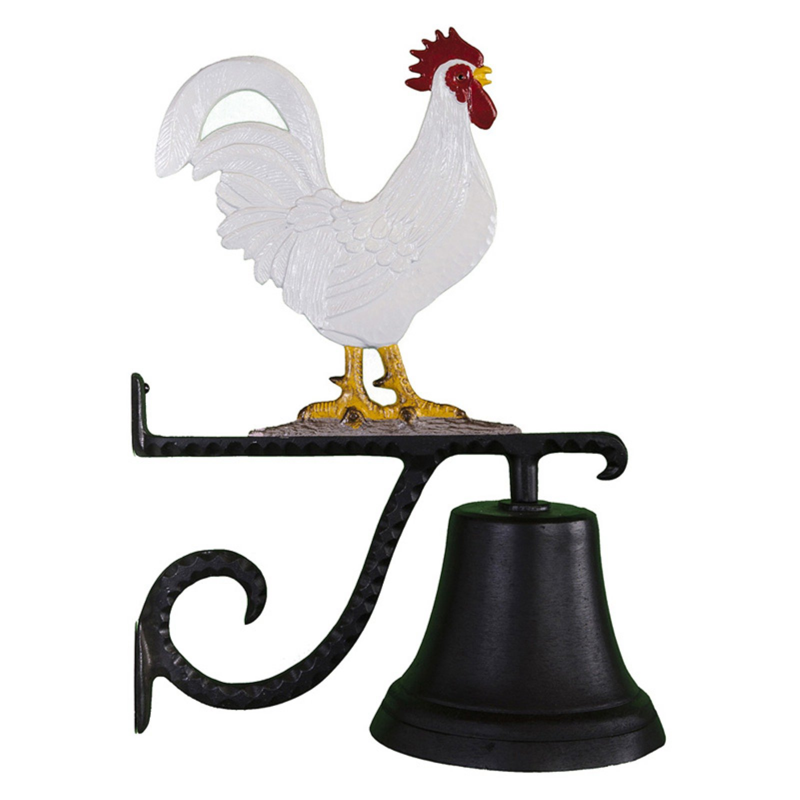 Cast Bell with Color Rooster Ornament