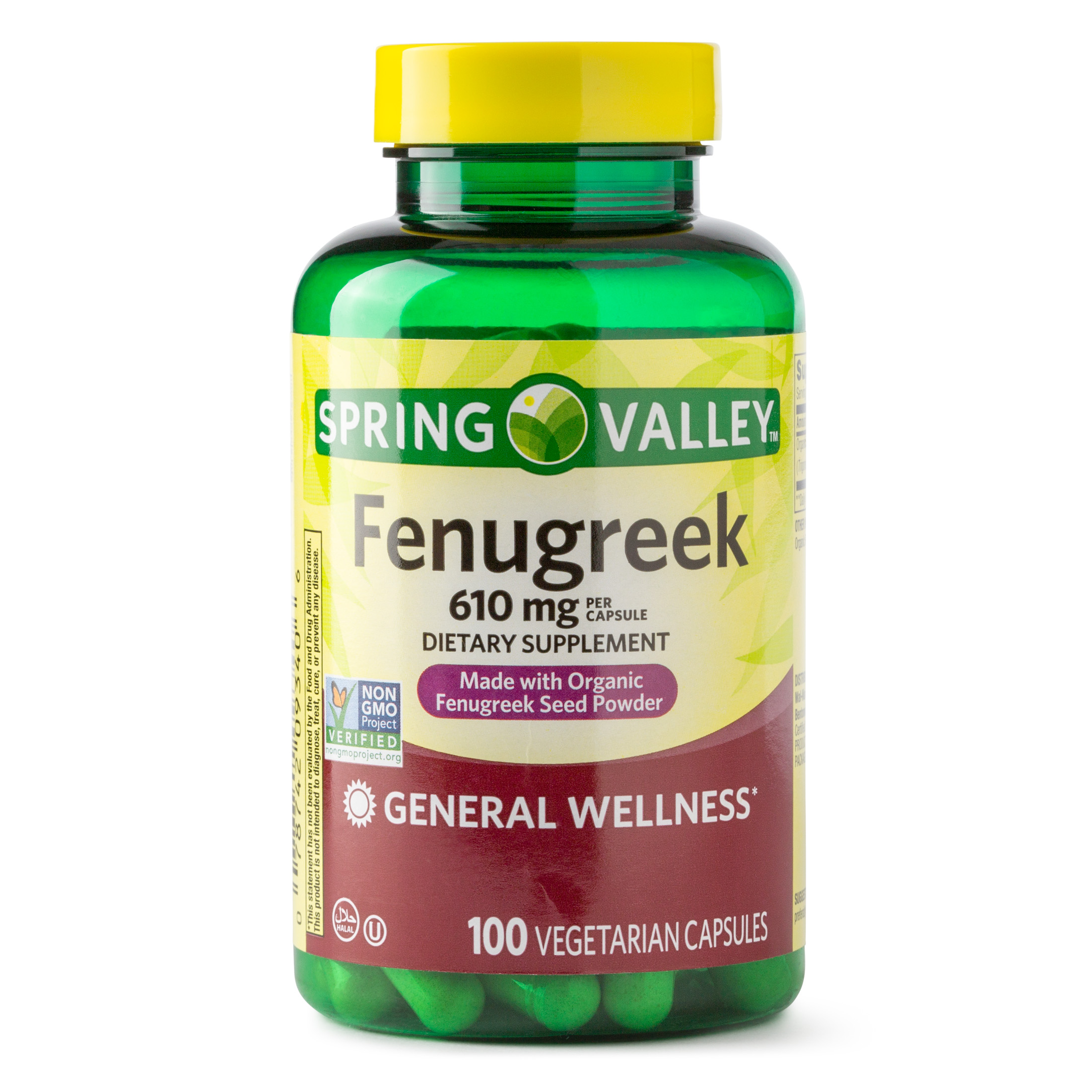 Spring Valley Fenugreek Dietary Supplement Capsules, 610 mg, 100 Ct
