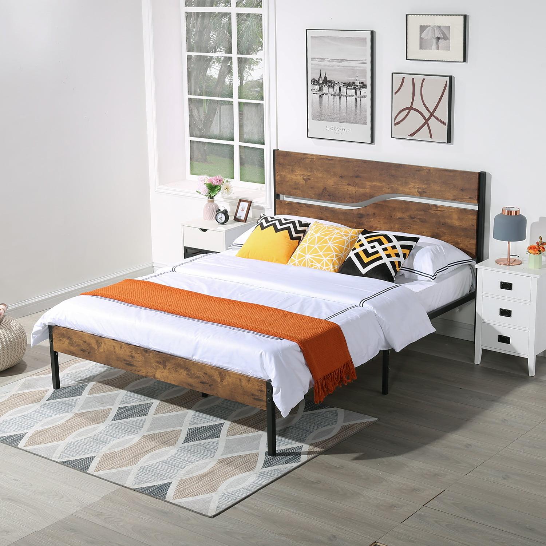 Vecelo Full Metal And Wood Platform Bed Frame With Rustic Vintage Woodden Headboard Mattress Foundation Slatted Bed Base No Box Spring Needed Walmart Com Walmart Com