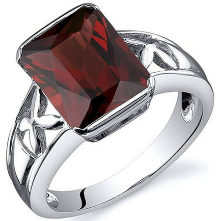 Radiant Solitaire Ring - Large Radiant Cut 4.00 carats Garnet Solitaire Sterling Silver Ring in Sizes 5 to 9 Style SR10566