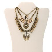 Gold-Tone Horn Fashion Trio Statement Necklace, Convertible 3-in-1 Necklace