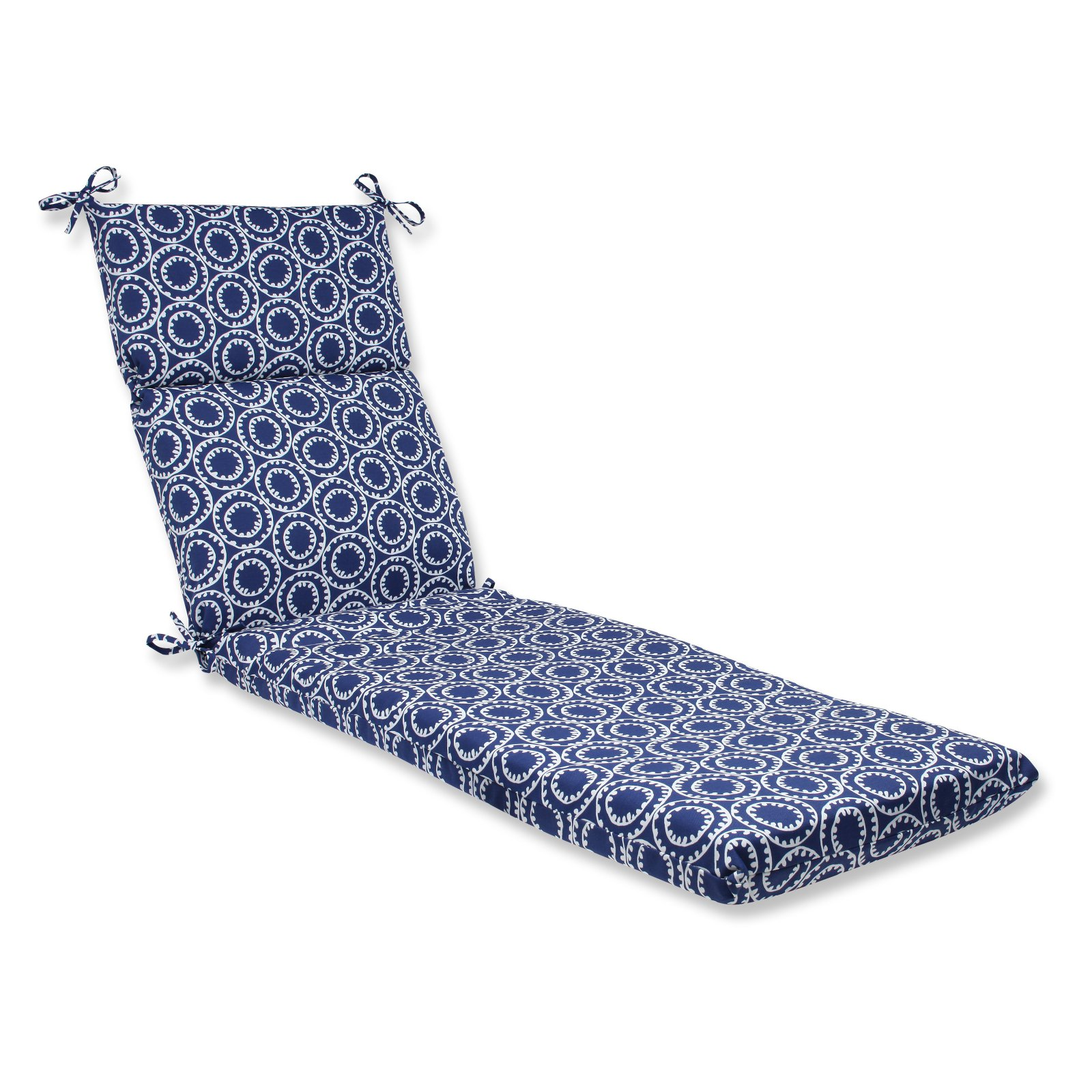 Pillow Perfect Outdoor  Indoor Ring a Bell Navy Chaise Lounge Cushion by Pillow Perfect