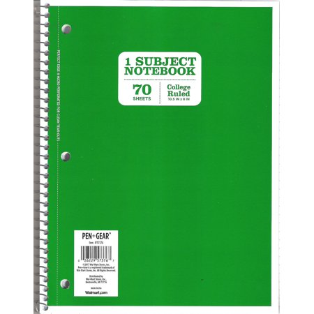 Pen+gear 70ct Green Notebook CR