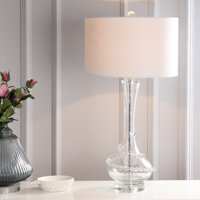 """Belle 31.5"""" Glass LED Table Lamp, Clear/Chrome"""