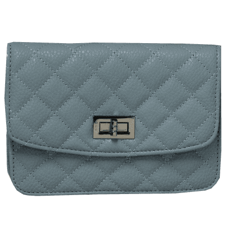 K. Carroll Quilted Light Blue Clutch with Crossbody Chain Strap