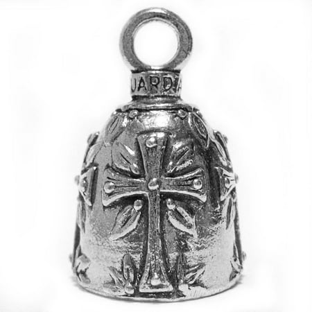 Guardian Bell Pewter Keychain Fob Zipper Pull - Holy Cross - Cross Guardian Bell