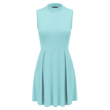 WDR1074 Womens Mock Neck Sleeveless Pullover Tunic Dress M Aqua