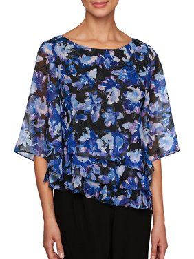 Floral Three-Quarter Sleeve Top