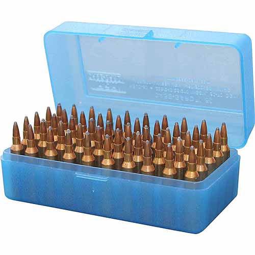 """MTM CASE-GARD R-50 50RD RIFLE AMMO BOX 2.46"""" MAX OAL POLY BLUE"""