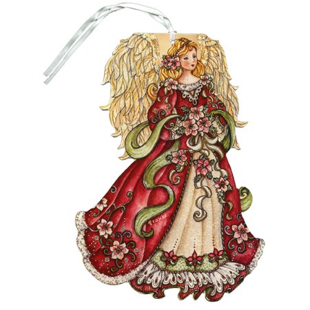 LPG Greetings Red Angel Glitter Keepsake Ornament Box of 12 Christmas Cards