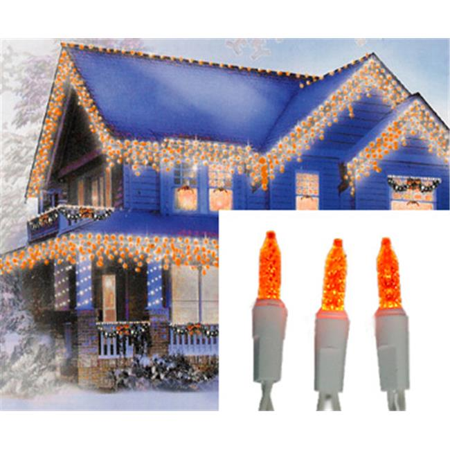 NorthLight Set Of 70 Orange Gold LED M5 Icicle Christmas Lights - White Wire
