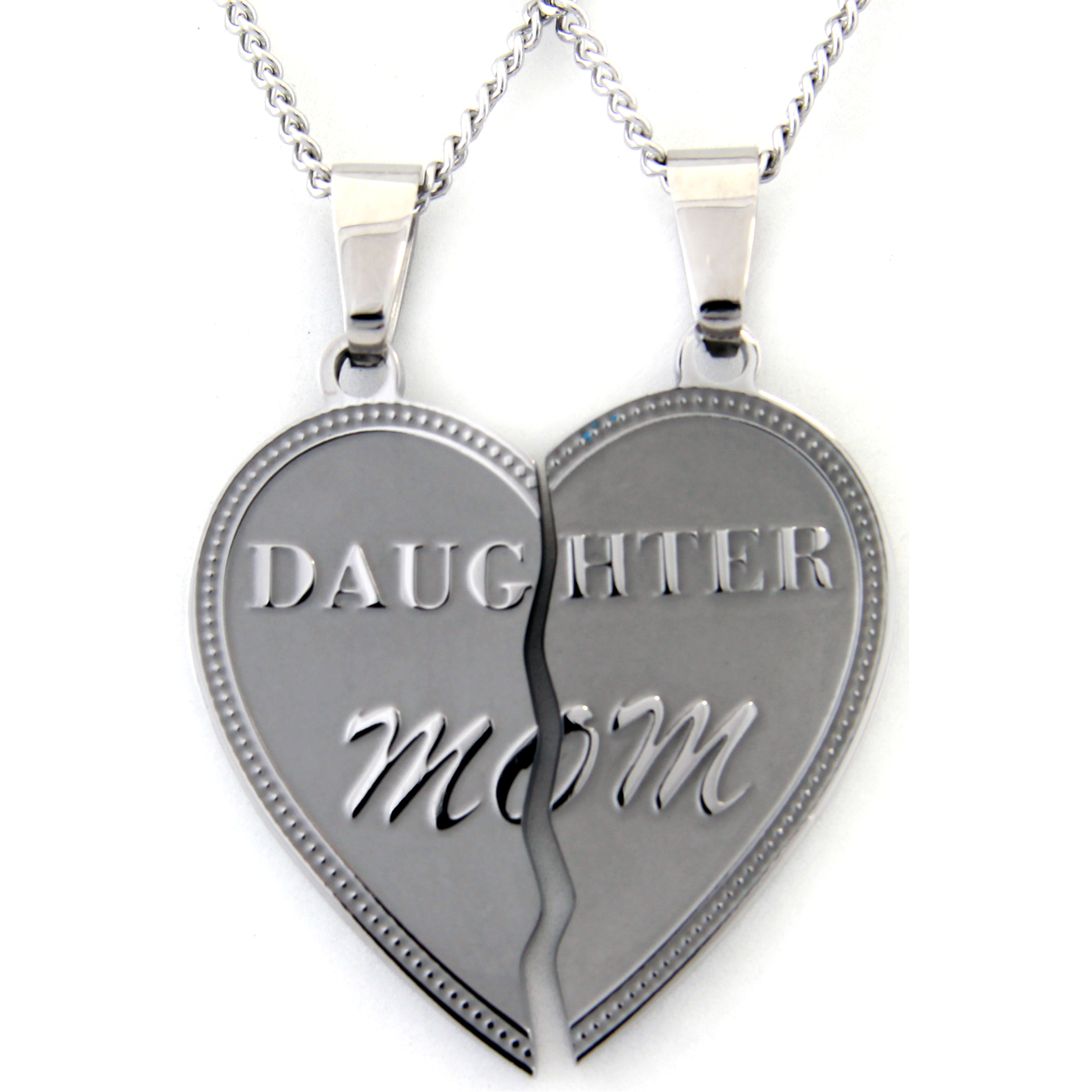 Daughter Mom Two Piece Pendant Stainless Steel Necklace