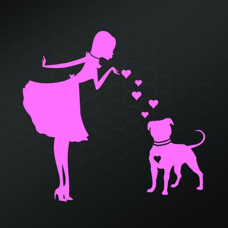 PITS and PEARLS PITBULL Dog Vinyl Car Decal, Laptop Decal, Car Window Wall Sticker   Pink   5.5 In   KCD638P ()