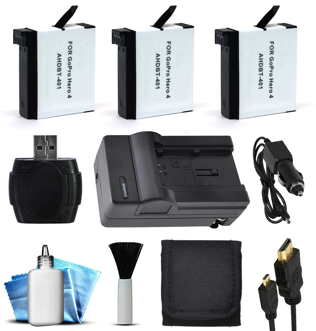 3x Batteries + Home/Travel Charger + HDMI + Wallet for GoPro HERO4 Hero 4