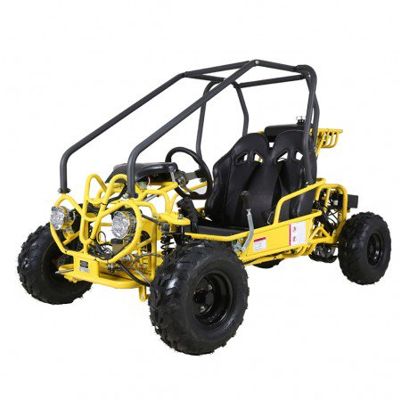 Off Road Go Kart Suspension - Yellow Taotao GK110 110CC Youth Go Kart, Air Cooled, 4-Stroke, 1-Cylinder, Automatic with Reverse