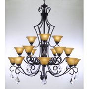 "Wrought Iron Chandelier With Crystals Perfect For Entryway Or Foyer  H51"" x W49"""